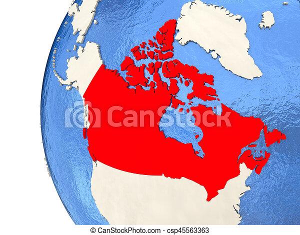 Map Of Canada On Globe.Canada On 3d Globe