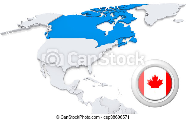 Canada on a map of north america highlighted canada on map of north canada on a map of north america csp38606571 gumiabroncs Image collections