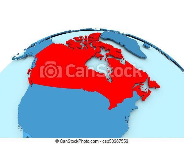 Map Of Canada On Globe.Canada On Blue Political Globe