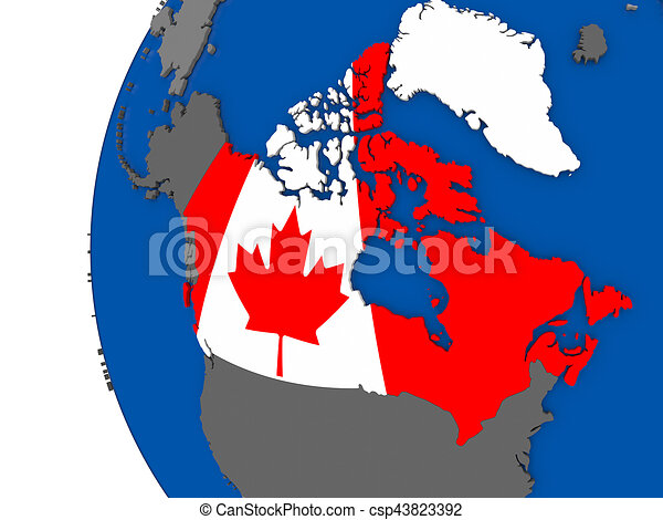 Map Of Canada On Globe.Canada On Globe Map Of Canada With Its Flag On Globe 3d Illustration