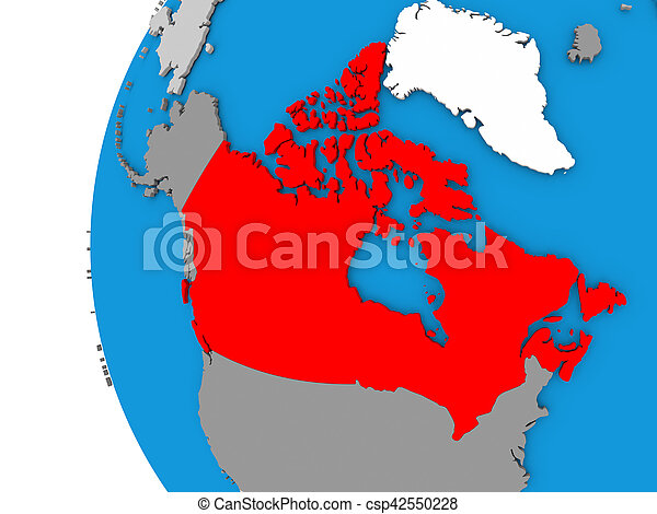 Simple Map Of Canada.Canada On Globe