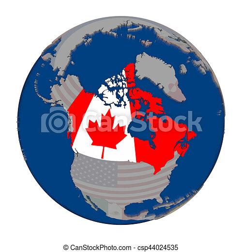 Map Of Canada On Globe.Canada On Political Globe