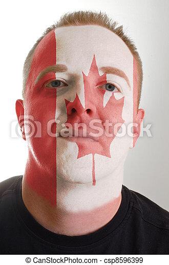 canada, patriot, geverfde, vlag, gezicht, kleuren, serieuze , man - csp8596399