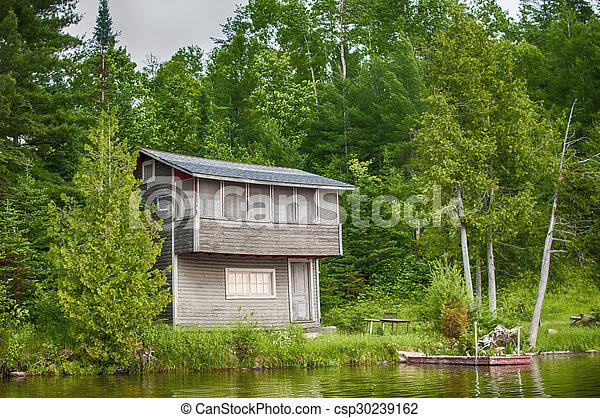 canada, petite maison bois, lac ontario