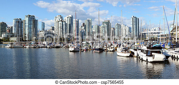 canada., skyline, kreek, bc, vancouver, panorama, jachthaven, &, vals - csp7565455