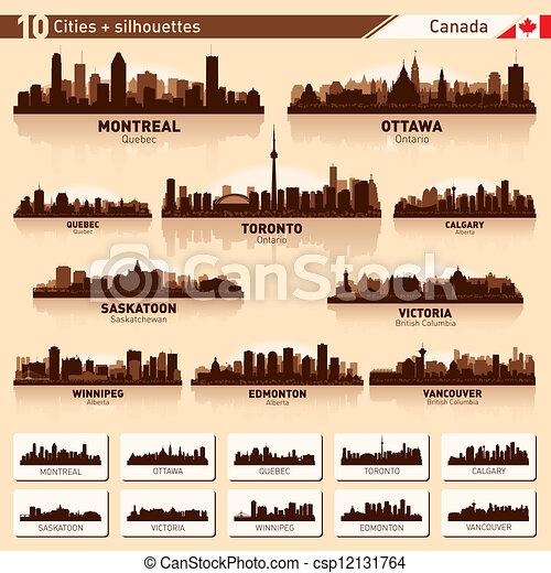 canada, stad, tien, set., skyline, silhouettes, #1 - csp12131764