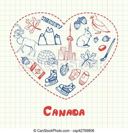 Canada Symbols Pen Drawn Doodles Vector Collection Love Canada