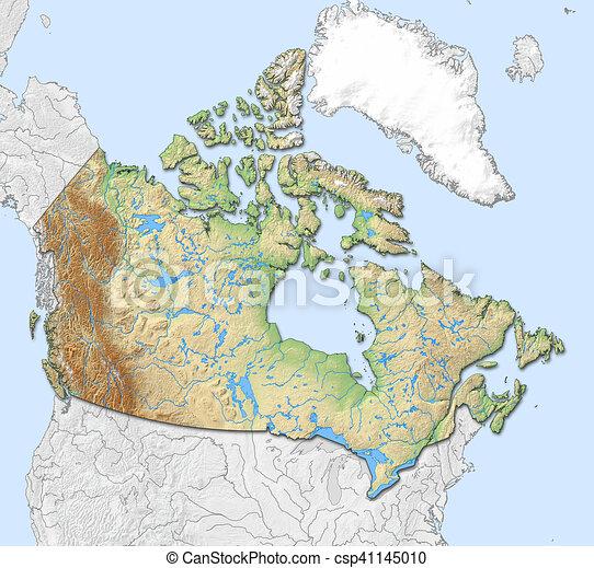 Canada Terkep Megkonnyebbules 3d Rendering Canada Terkep