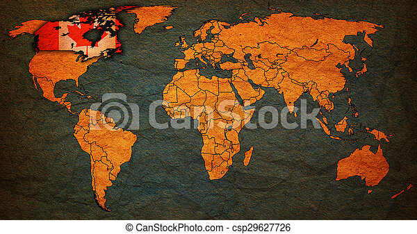 Canada territory on world map canada flag on old vintage world map canada territory on world map csp29627726 gumiabroncs Images