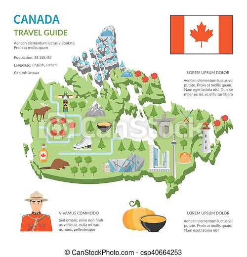 Canada Travel Guide Flat Map Poster - csp40664253