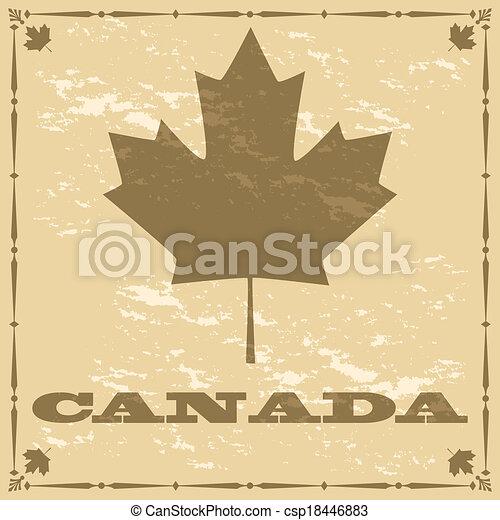 canada vieux, style, feuille, érable - csp18446883
