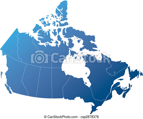 Canada with provinces shades of shaded blue Canadian map clip
