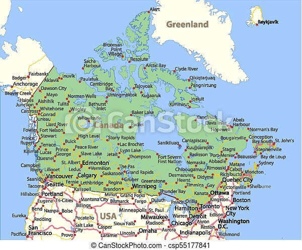 Map Of Canada With Labels.Canada World Countries Vectormap A