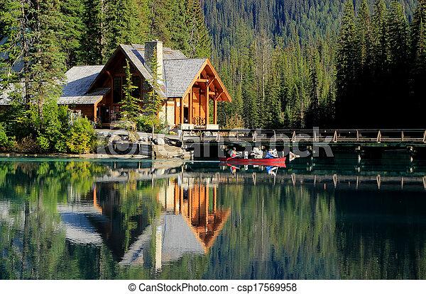 Images de stock de canada, yoho, maison bois, parc national, lac ...