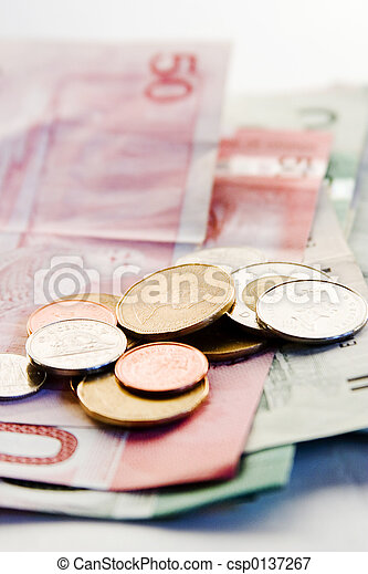 Canadian Bills and Coins - csp0137267