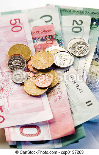 Canadian Bills and Coins - csp0137263