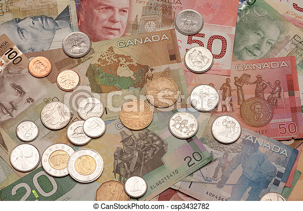 Canadian currency, bills and coins - csp3432782