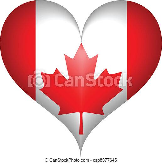 Canadian Flag heart.Vector - csp8377645