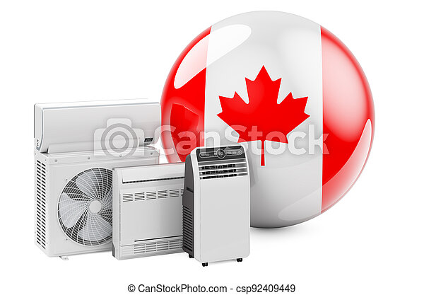 Canadian flag with cooling and climate electric devices. Manufacturing, trading and service of air conditioners in Canada, 3D rendering - csp92409449