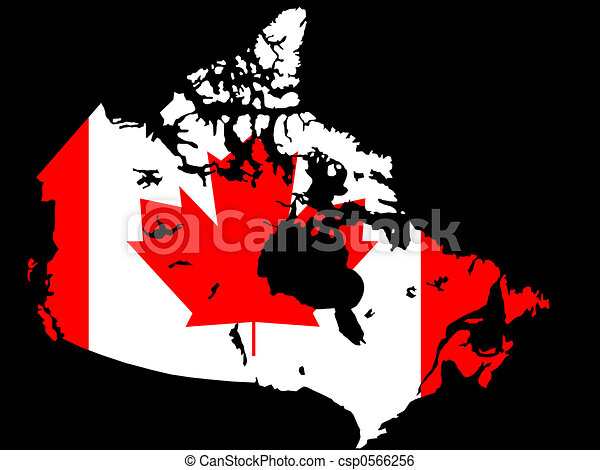 Canadian map and flag illustration - csp0566256