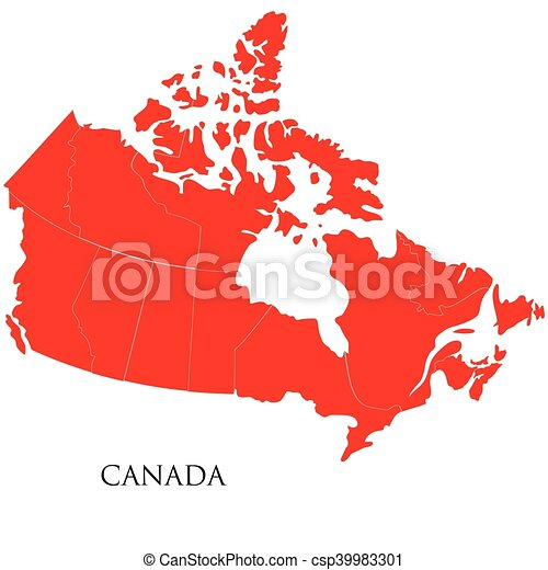 Canadian Map on white background - csp39983301