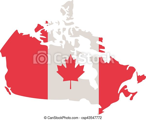 Canada Map Flag.Canadian Map With Canada Flag
