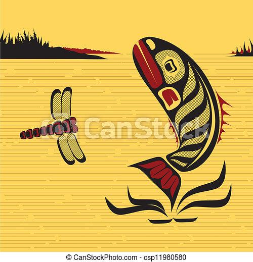 Canadian Native North West Art, vector fish - csp11980580