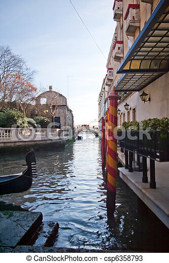 Canal among old houses in Venice, Italy - csp6358793