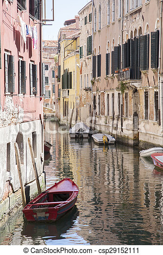 Canal and Boats in Venice - csp29152111