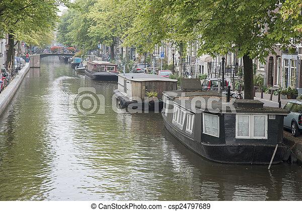Canal in Jordan District, Amsterdam, Holland - csp24797689