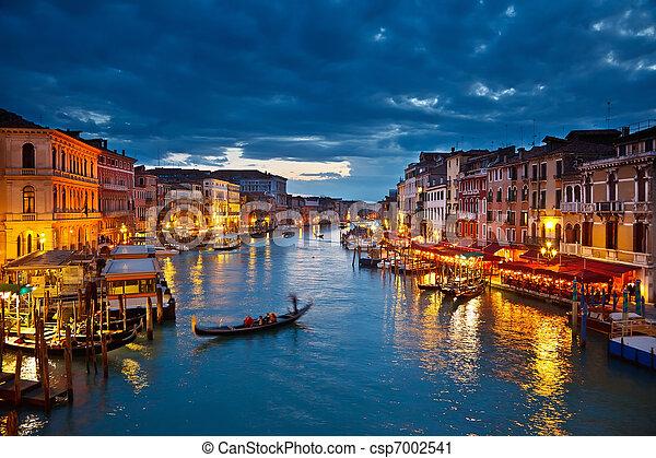 canale, venezia, notte, grande - csp7002541