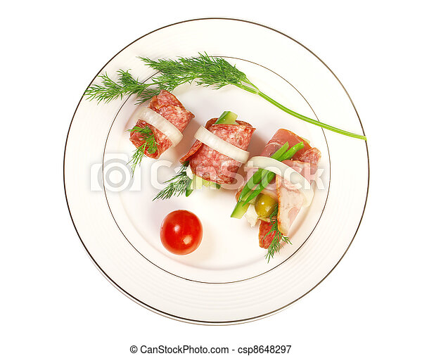 Canape platter with cheese, smoked sausage - csp8648297