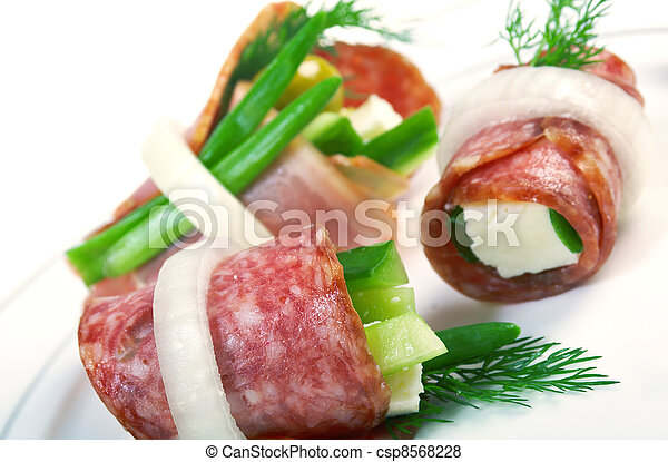 Canape platter with cheese, smoked sausage - csp8568228