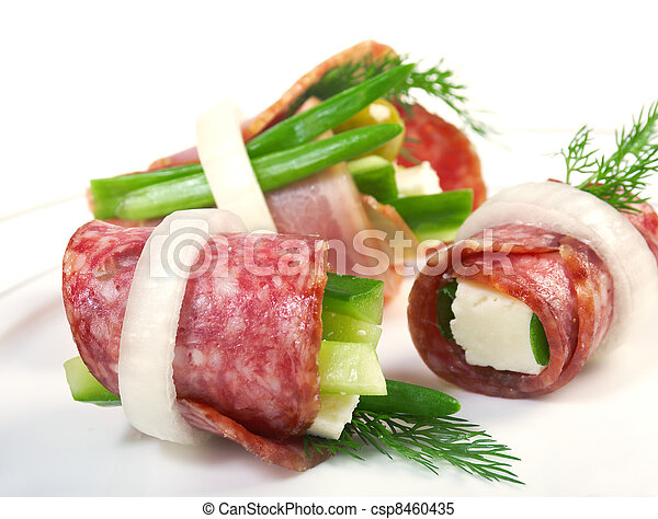 Canape platter with cheese, smoked sausage - csp8460435