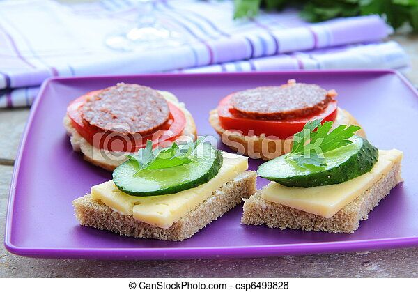 canape sandwiches with cheese  - csp6499828