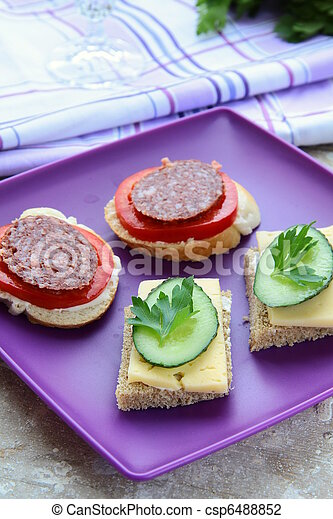 canape sandwiches with cheese  - csp6488852