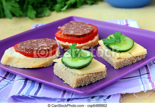 canape sandwiches with cheese  - csp6488862