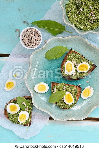 canape with pesto and eggs - csp14619516