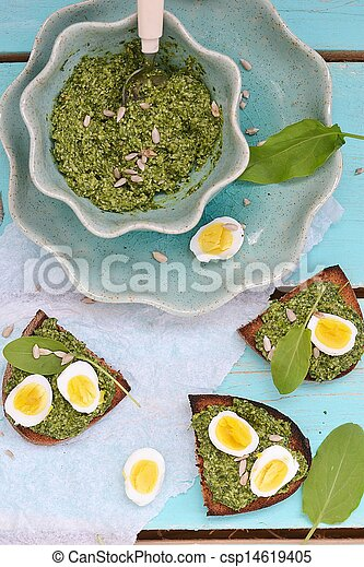 canape with pesto and eggs - csp14619405