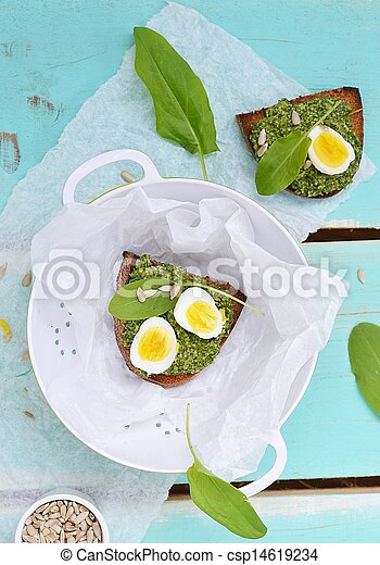 canape with pesto and eggs - csp14619234