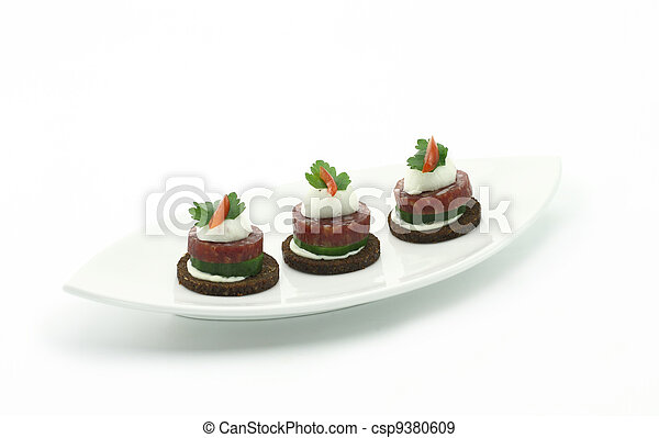 Canape with salami and cheese - csp9380609