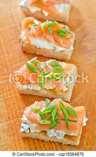 canape with salmon - csp18364876