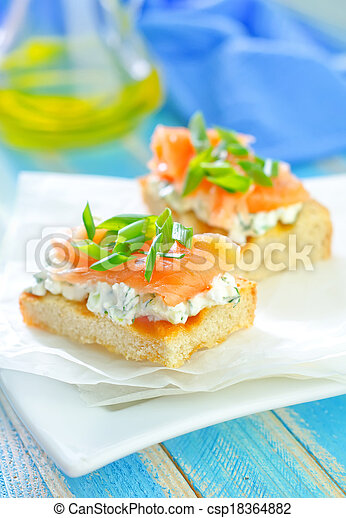 canape with salmon - csp18364882