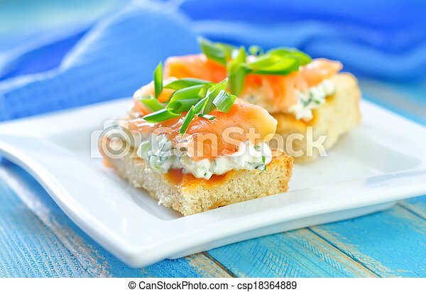 canape with salmon - csp18364889