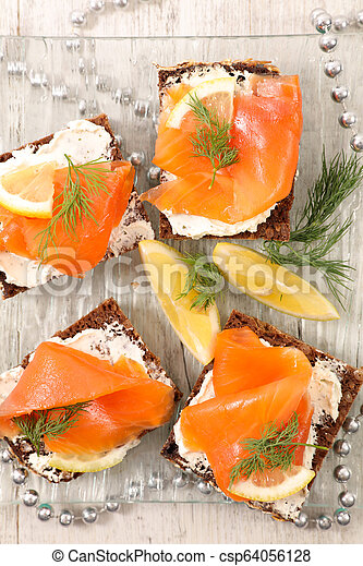 canape with salmon - csp64056128