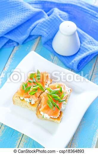 canape with salmon - csp18364893