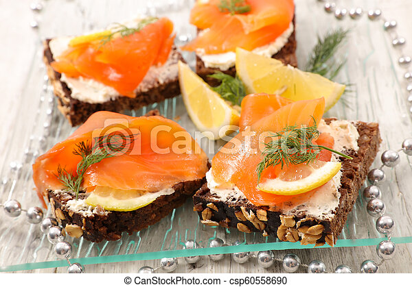 canape with salmon - csp60558690