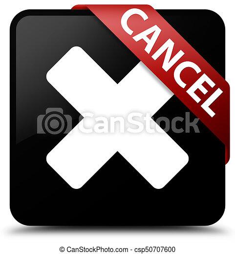 Cancel black square button red ribbon in corner - csp50707600