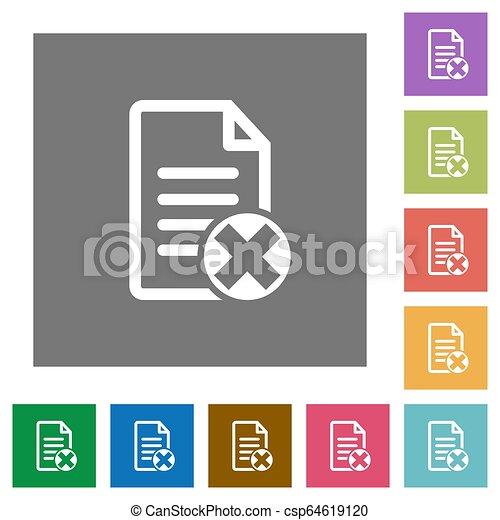 Cancel document square flat icons - csp64619120