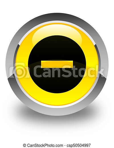 Cancel icon glossy yellow round button - csp50504997
